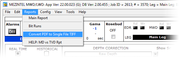 From the top menu, click 'Reports' > 'Convert PDF to TIFF'