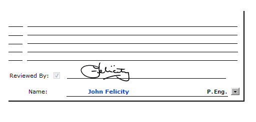 E-Signature showing on a BreakTest Report.