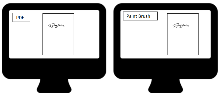 Take a screenshot of signature image from PDF file and paste image in paint brush.